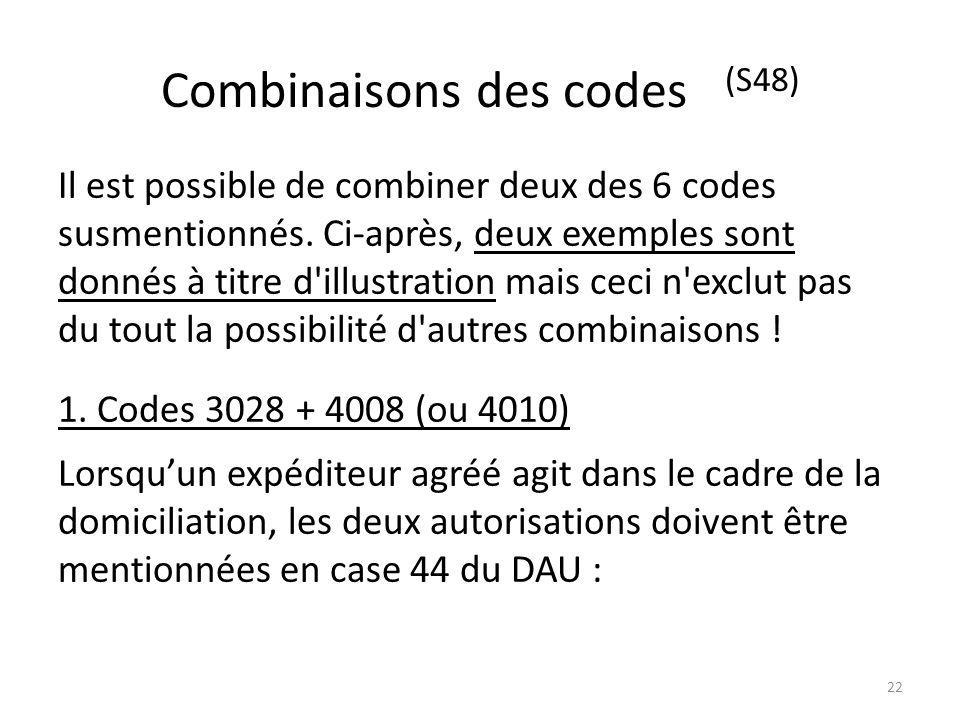 Combinaisons des codes (S48) Il est possible de combiner deux des 6 codes susmentionnés. Ci-après, deux exemples sont donnés à titre d'illustration ma