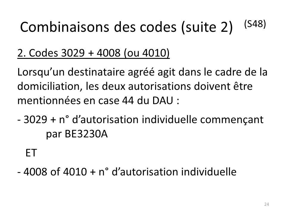 Combinaisons des codes (suite 2) (S48) 2. Codes 3029 + 4008 (ou 4010) Lorsquun destinataire agréé agit dans le cadre de la domiciliation, les deux aut
