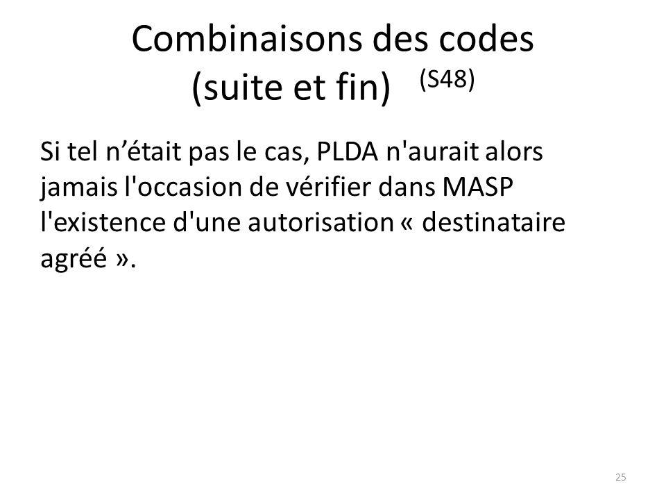Combinaisons des codes (suite et fin) (S48) Si tel nétait pas le cas, PLDA n'aurait alors jamais l'occasion de vérifier dans MASP l'existence d'une au