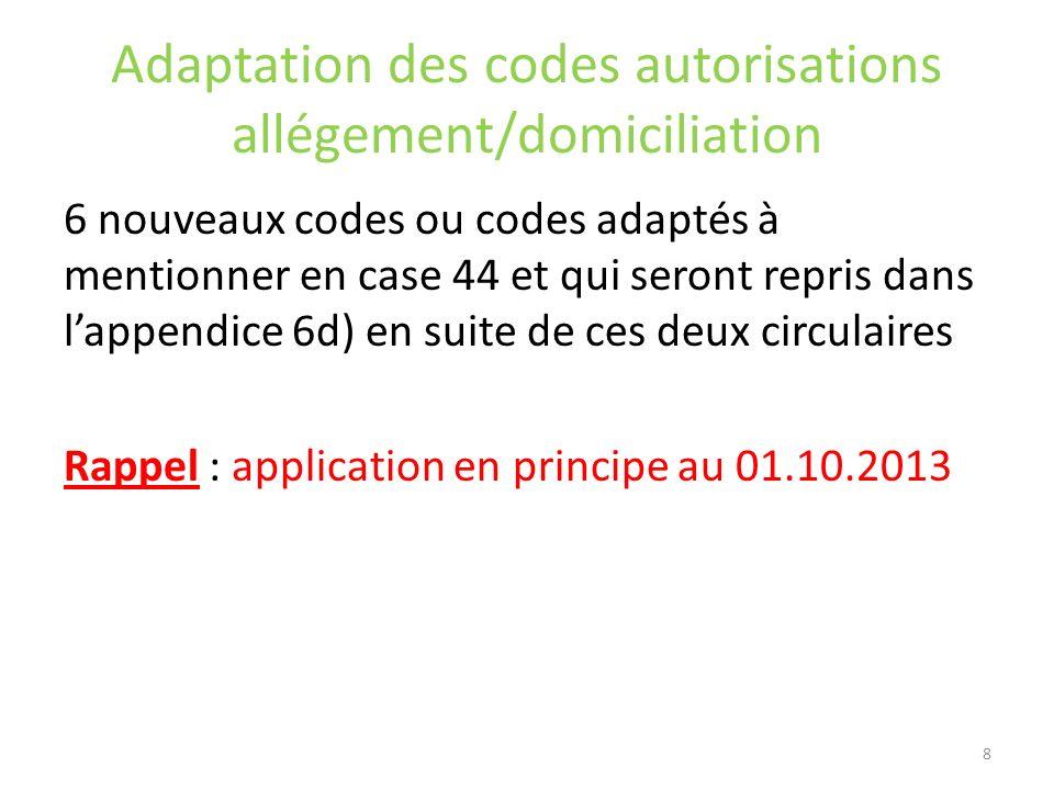 Adaptation des codes autorisations allégement/domiciliation 6 nouveaux codes ou codes adaptés à mentionner en case 44 et qui seront repris dans lappen