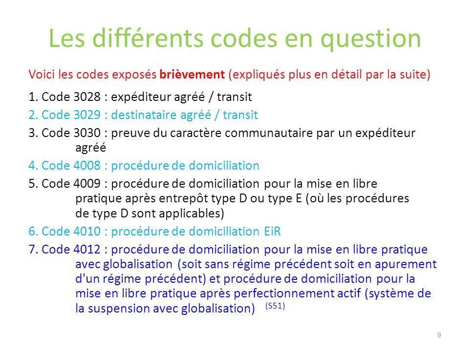 Les différents codes en question Voici les codes exposés brièvement (expliqués plus en détail par la suite) 1. Code 3028 : expéditeur agréé / transit