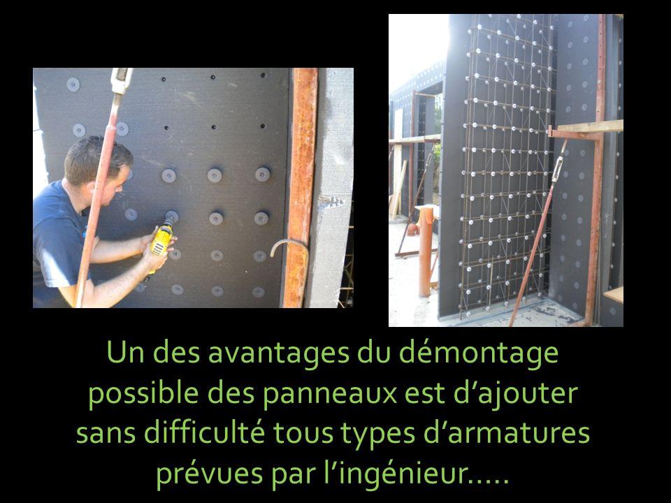 Un des avantages du démontage possible des panneaux est dajouter sans difficulté tous types darmatures prévues par lingénieur…..