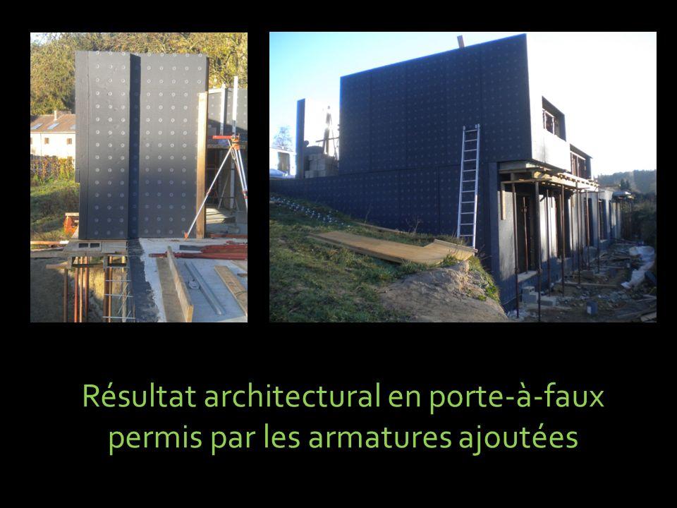 Résultat architectural en porte-à-faux permis par les armatures ajoutées