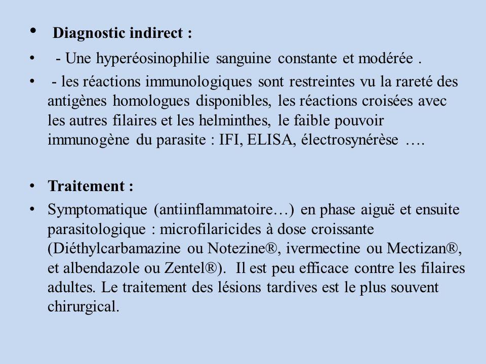 Diagnostic indirect : - Une hyperéosinophilie sanguine constante et modérée.