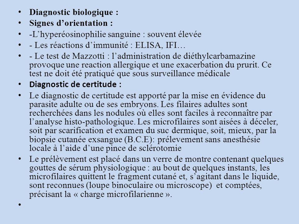 Diagnostic biologique : Signes dorientation : -Lhyperéosinophilie sanguine : souvent élevée - Les réactions dimmunité : ELISA, IFI… - Le test de Mazzotti : ladministration de diéthylcarbamazine provoque une reaction allergique et une exacerbation du prurit.