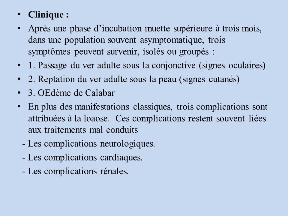 Clinique : Après une phase dincubation muette supérieure à trois mois, dans une population souvent asymptomatique, trois symptômes peuvent survenir, isolés ou groupés : 1.