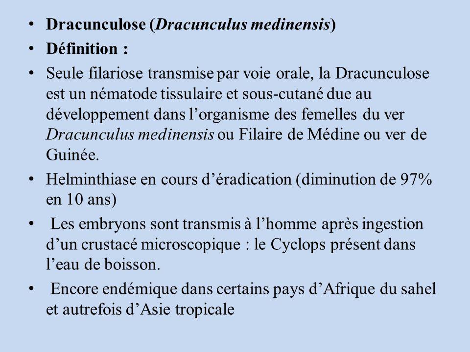 Dracunculose (Dracunculus medinensis) Définition : Seule filariose transmise par voie orale, la Dracunculose est un nématode tissulaire et sous-cutané due au développement dans lorganisme des femelles du ver Dracunculus medinensis ou Filaire de Médine ou ver de Guinée.