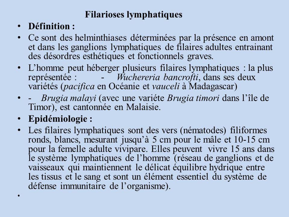 Filarioses lymphatiques Définition : Ce sont des helminthiases déterminées par la présence en amont et dans les ganglions lymphatiques de filaires adultes entrainant des désordres esthétiques et fonctionnels graves.