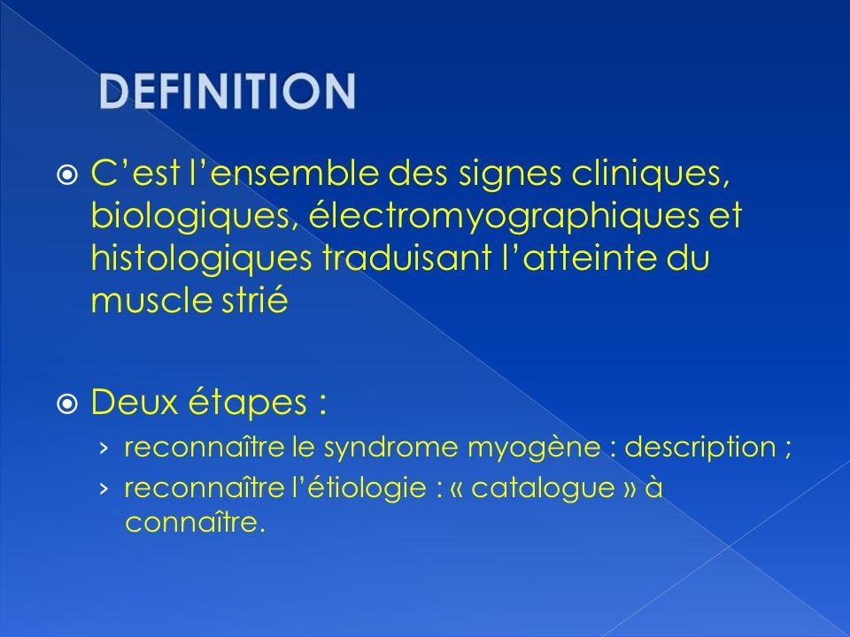 Cest lensemble des signes cliniques, biologiques, électromyographiques et histologiques traduisant latteinte du muscle strié Deux étapes : reconnaître