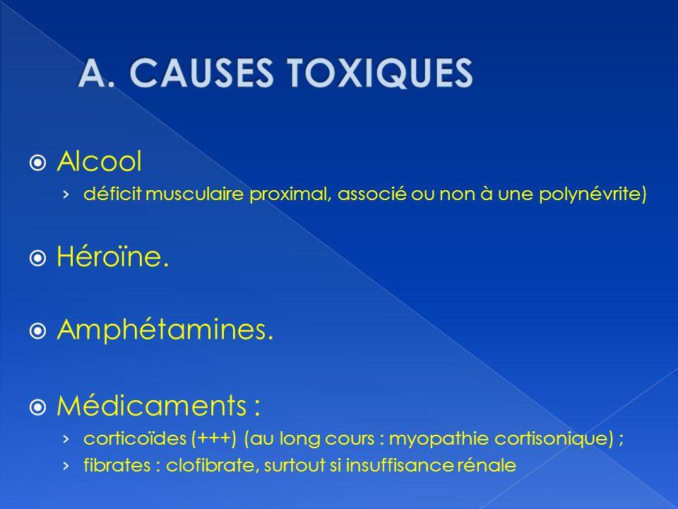 Alcool déficit musculaire proximal, associé ou non à une polynévrite) Héroïne. Amphétamines. Médicaments : corticoïdes (+++) (au long cours : myopathi
