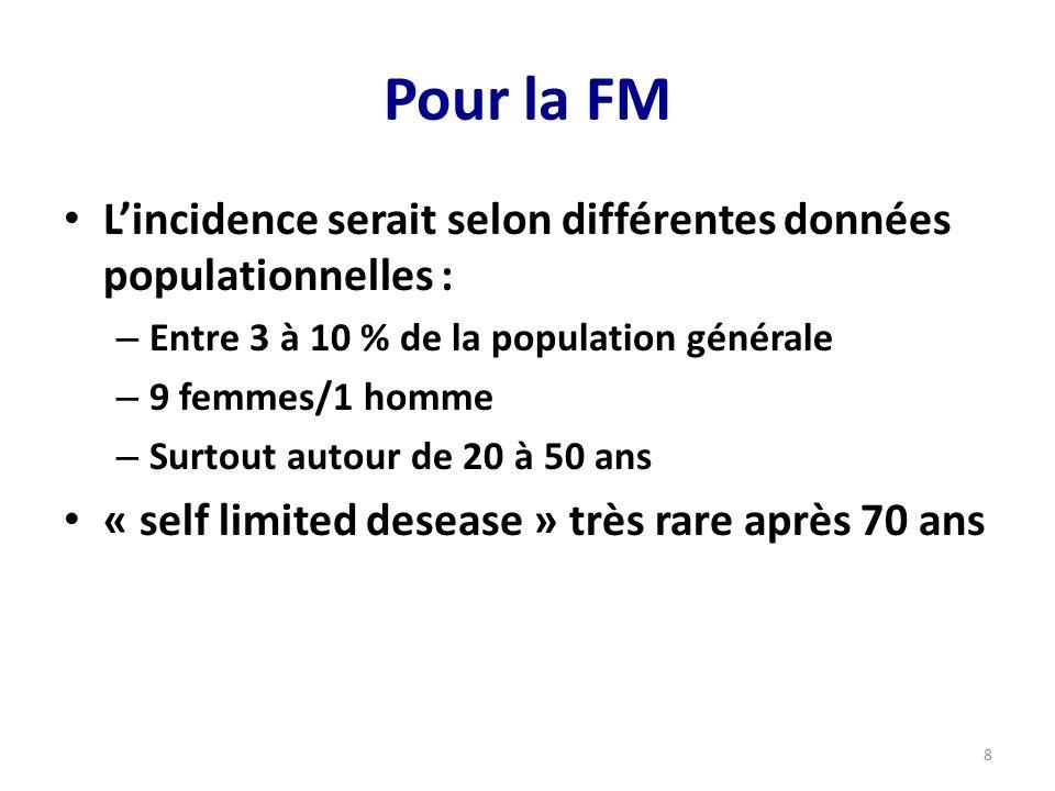 Pour la FM Lincidence serait selon différentes données populationnelles : – Entre 3 à 10 % de la population générale – 9 femmes/1 homme – Surtout autour de 20 à 50 ans « self limited desease » très rare après 70 ans 8