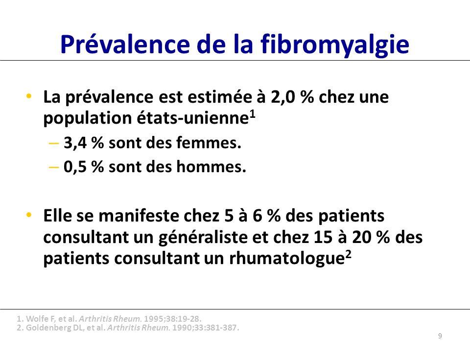 Prévalence de la fibromyalgie La prévalence est estimée à 2,0 % chez une population états-unienne 1 – 3,4 % sont des femmes.