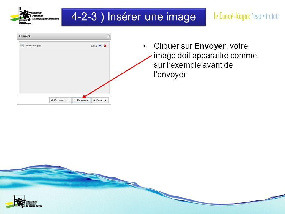 4-2-3 ) Insérer une image Cliquer sur Envoyer, votre image doit apparaitre comme sur lexemple avant de lenvoyer