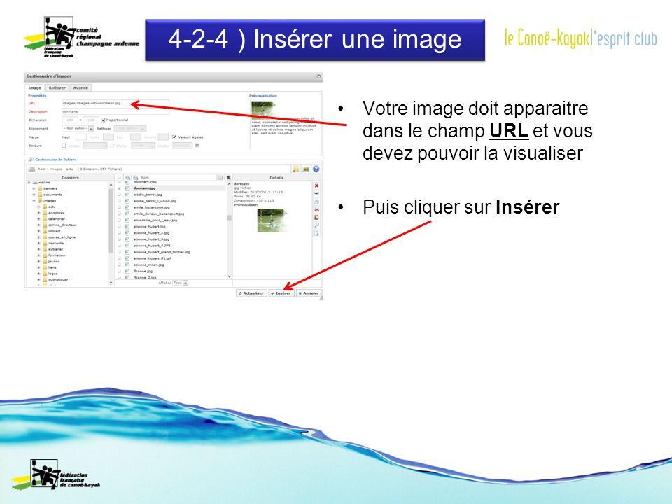 4-2-4 ) Insérer une image Votre image doit apparaitre dans le champ URL et vous devez pouvoir la visualiser Puis cliquer sur Insérer