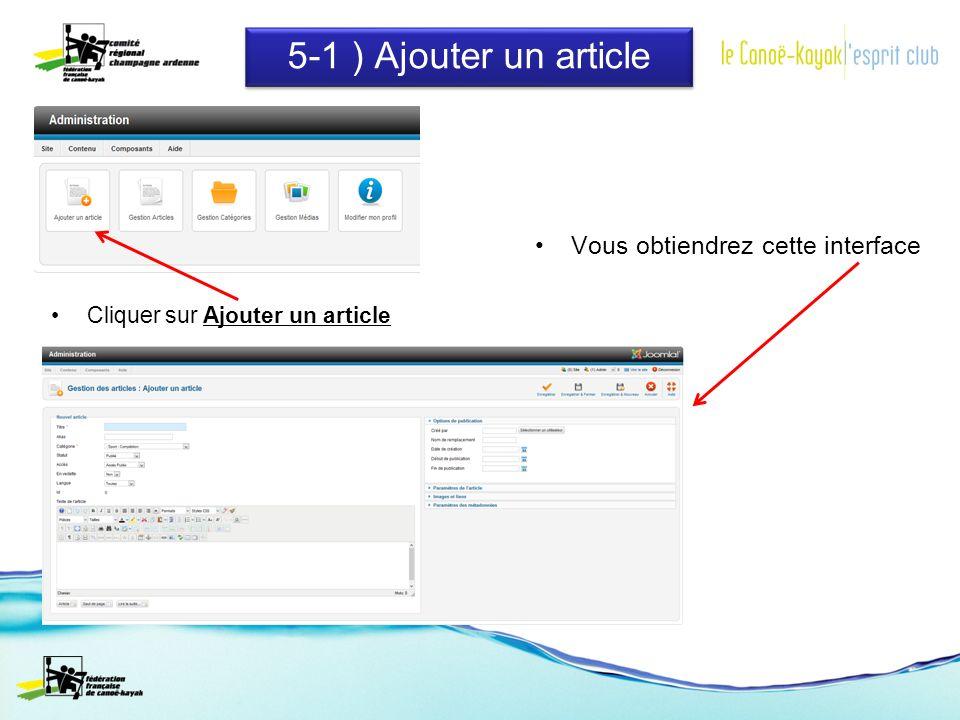 5-1 ) Ajouter un article Cliquer sur Ajouter un article Vous obtiendrez cette interface