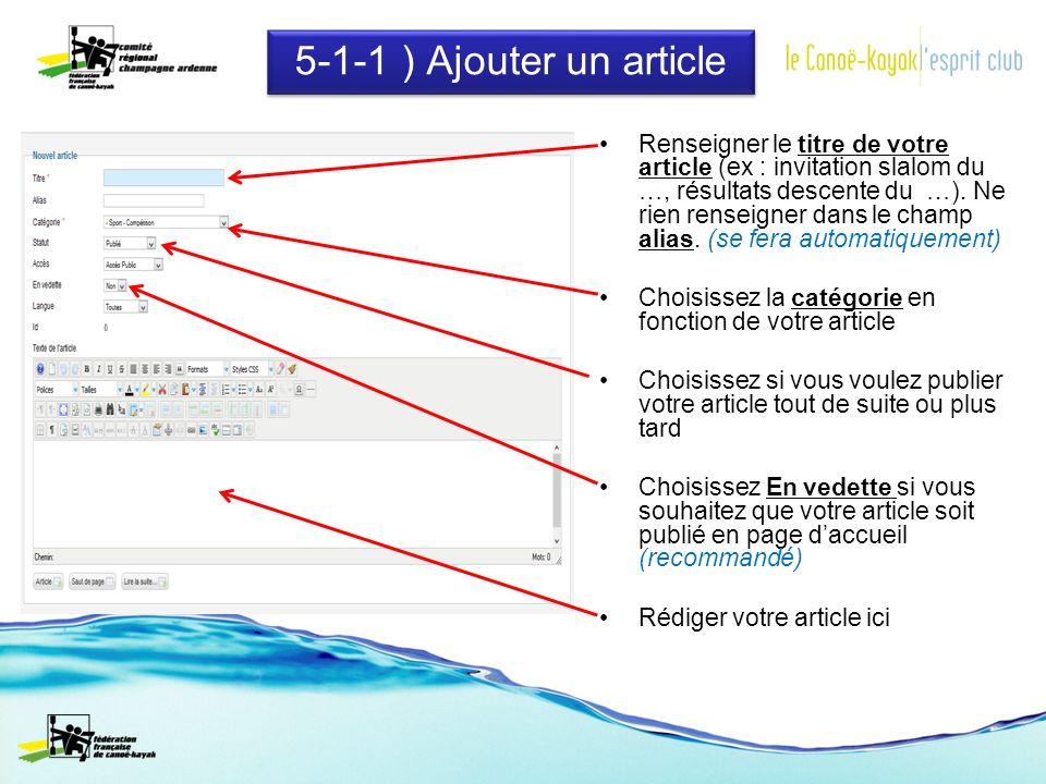 5-1-1 ) Ajouter un article Renseigner le titre de votre article (ex : invitation slalom du …, résultats descente du …).