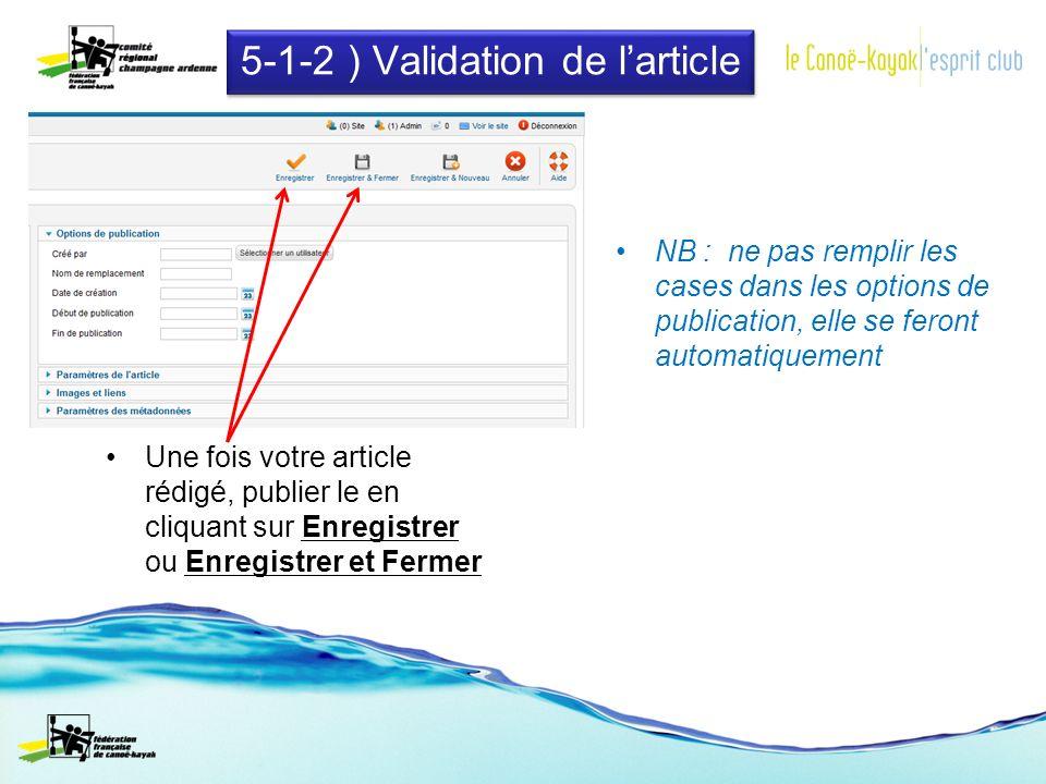 5-1-2 ) Validation de larticle Une fois votre article rédigé, publier le en cliquant sur Enregistrer ou Enregistrer et Fermer NB : ne pas remplir les cases dans les options de publication, elle se feront automatiquement