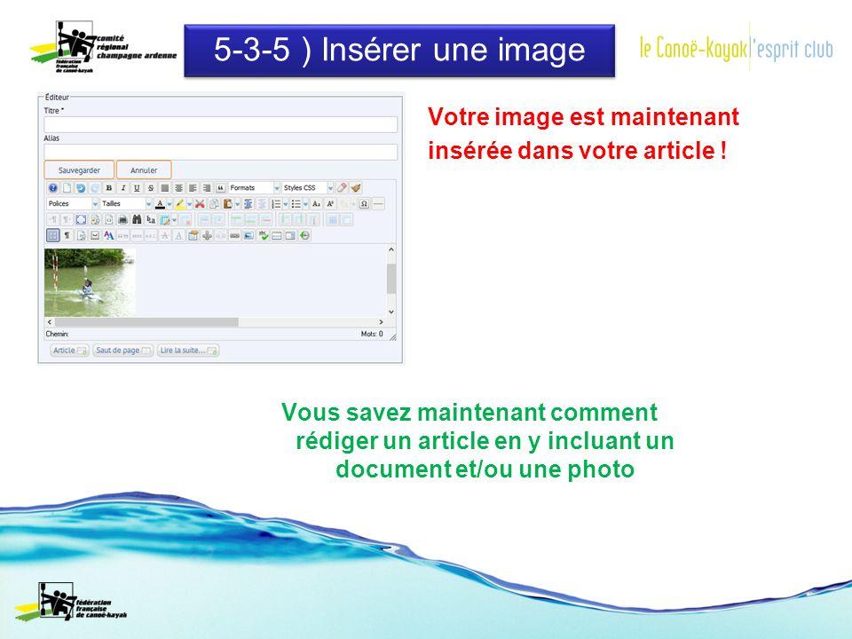 5-3-5 ) Insérer une image Votre image est maintenant insérée dans votre article .