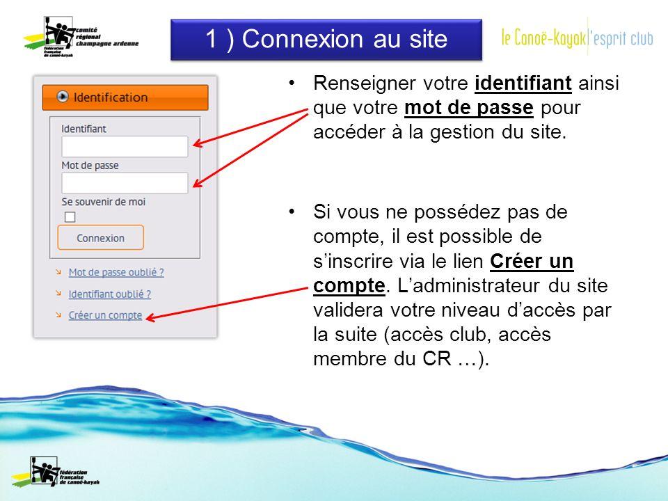 1 ) Connexion au site Renseigner votre identifiant ainsi que votre mot de passe pour accéder à la gestion du site.