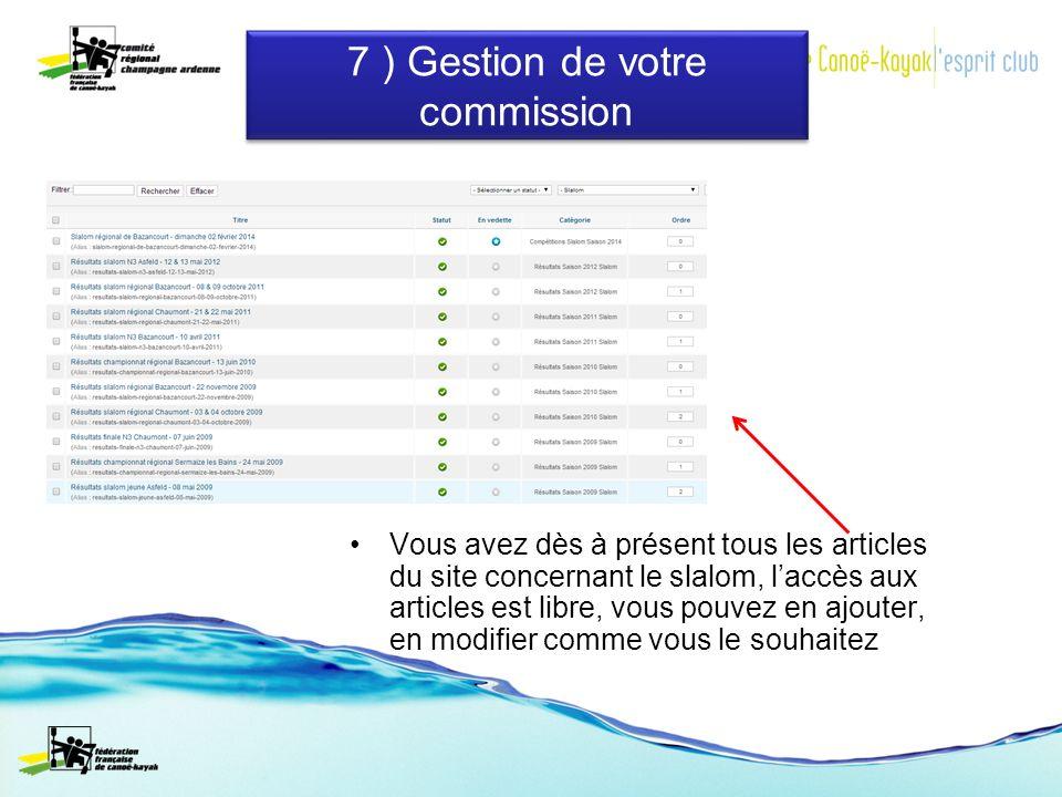 Vous avez dès à présent tous les articles du site concernant le slalom, laccès aux articles est libre, vous pouvez en ajouter, en modifier comme vous le souhaitez 7 ) Gestion de votre commission