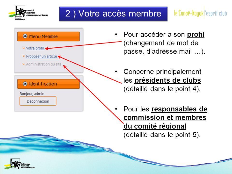 2 ) Votre accès membre Pour accéder à son profil (changement de mot de passe, dadresse mail …).