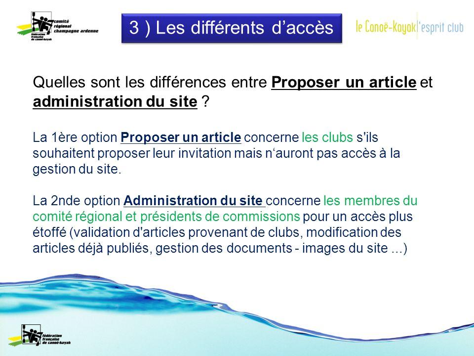 3 ) Les différents daccès Quelles sont les différences entre Proposer un article et administration du site .