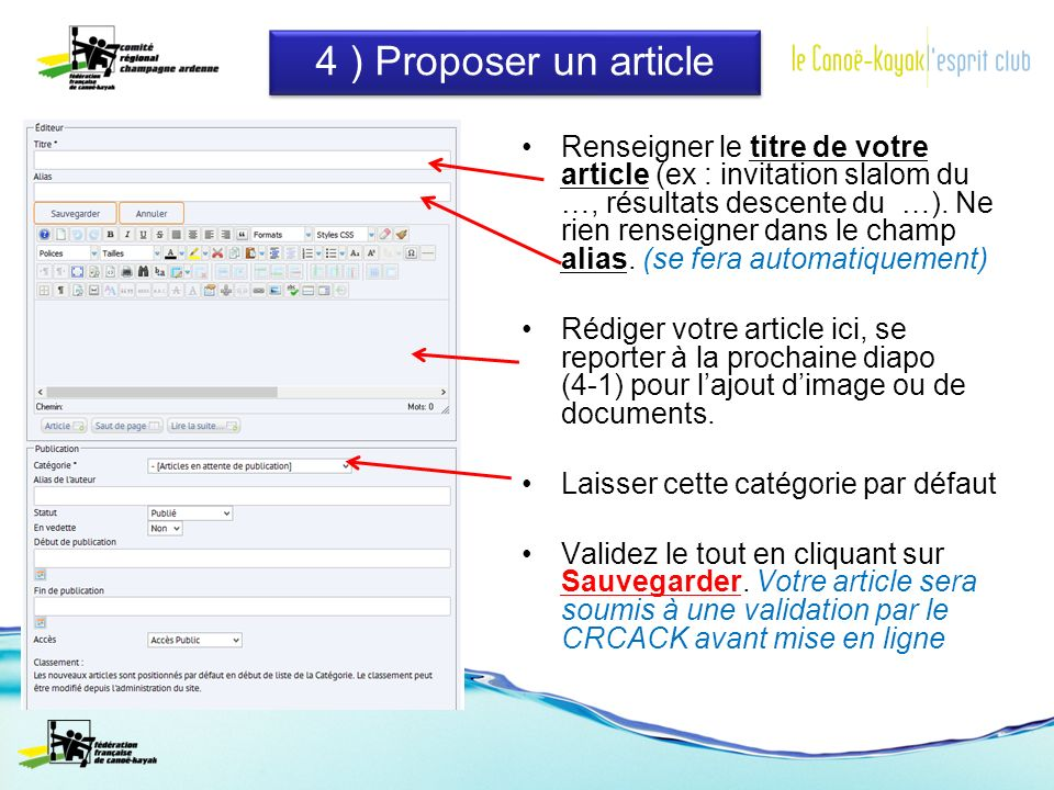 4 ) Proposer un article Renseigner le titre de votre article (ex : invitation slalom du …, résultats descente du …).