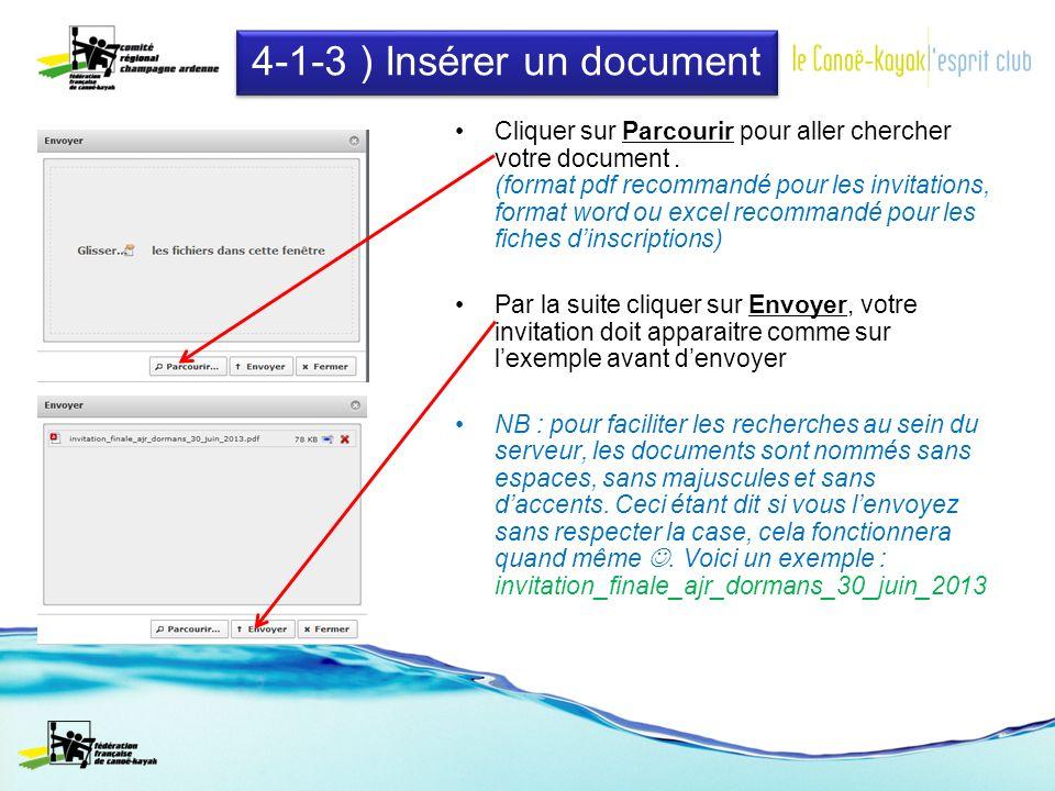 4-1-3 ) Insérer un document Cliquer sur Parcourir pour aller chercher votre document.