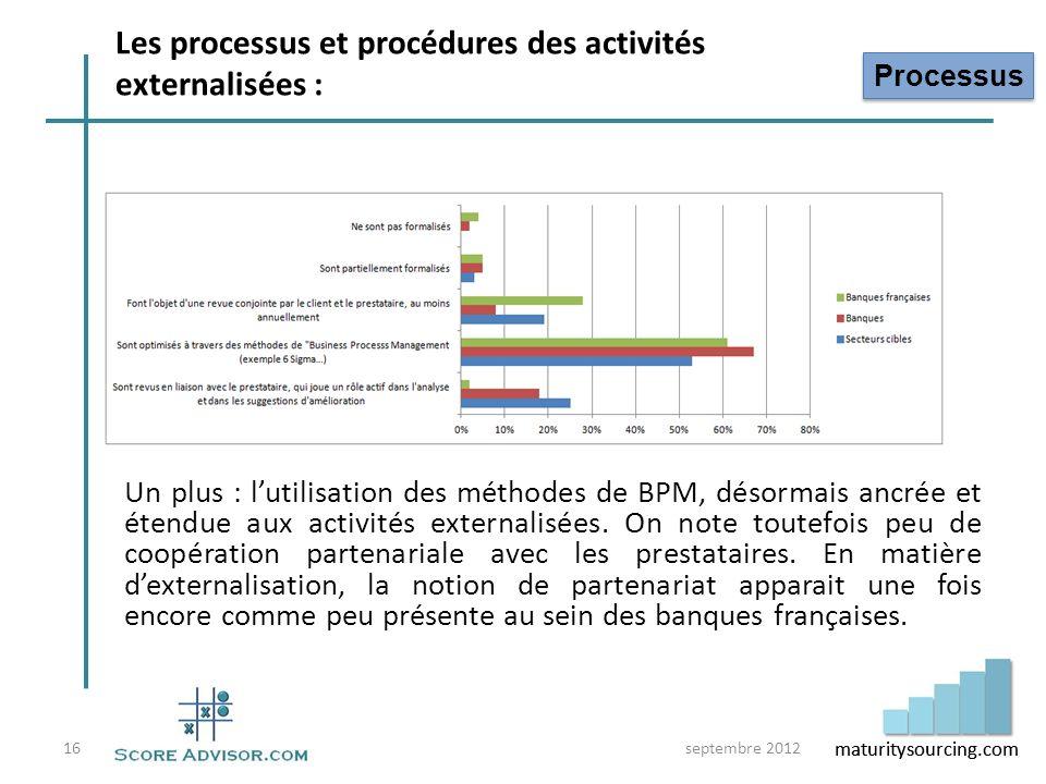 maturitysourcing.com Un plus : lutilisation des méthodes de BPM, désormais ancrée et étendue aux activités externalisées. On note toutefois peu de coo