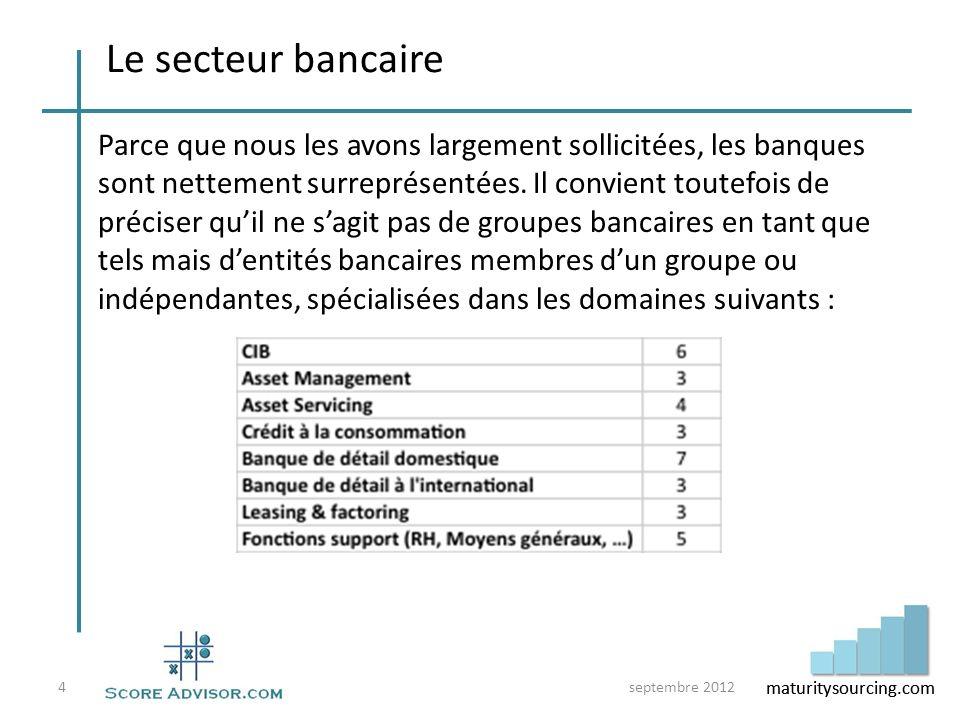 maturitysourcing.com Le secteur bancaire Parce que nous les avons largement sollicitées, les banques sont nettement surreprésentées. Il convient toute