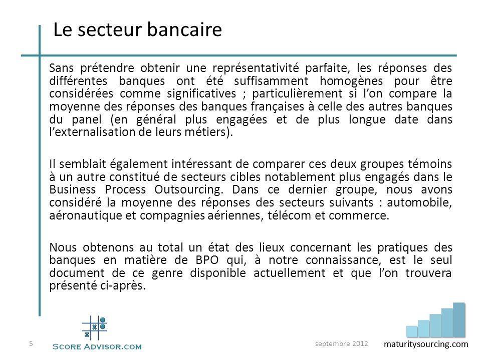 maturitysourcing.com Objectifs Leurs réponses indiquent clairement un changement de perspectives en cours pour les banques françaises : leur intérêt pour lexternalisation se déplace dun objectif de réduction immédiate des coûts à un enjeu plus large de productivité (optimisation des processus) et dacquisition de compétences.