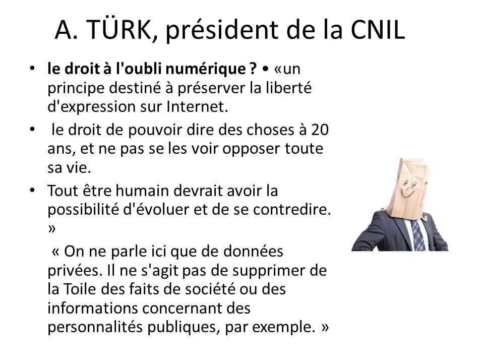 A. TÜRK, président de la CNIL le droit à l oubli numérique .