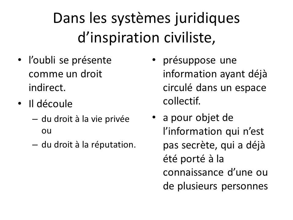 Dans les systèmes juridiques dinspiration civiliste, loubli se présente comme un droit indirect.