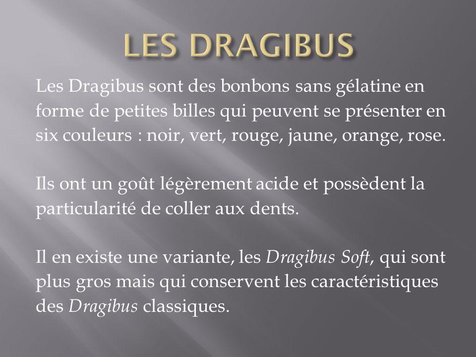 Les Dragibus sont des bonbons sans gélatine en forme de petites billes qui peuvent se présenter en six couleurs : noir, vert, rouge, jaune, orange, ro