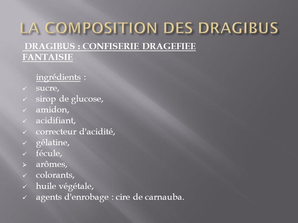 DRAGIBUS : CONFISERIE DRAGEFIEE FANTAISIE ingrédients : sucre, sirop de glucose, amidon, acidifiant, correcteur d'acidité, gélatine, fécule, arômes, c