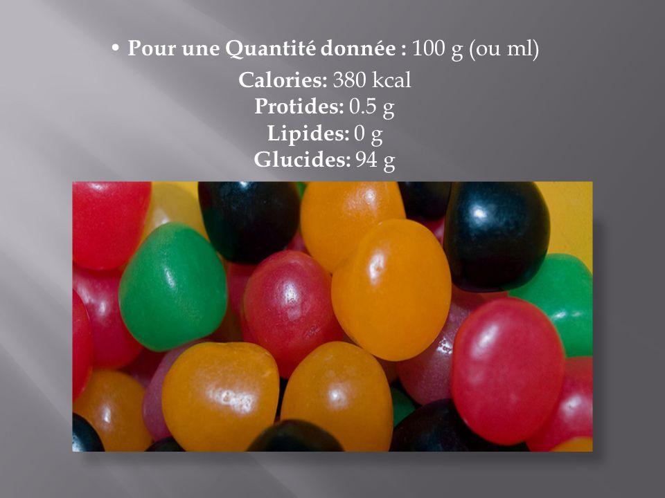 P our une Quantité donnée : 100 g (ou ml) Calories: 380 kcal Protides: 0.5 g Lipides: 0 g Glucides: 94 g
