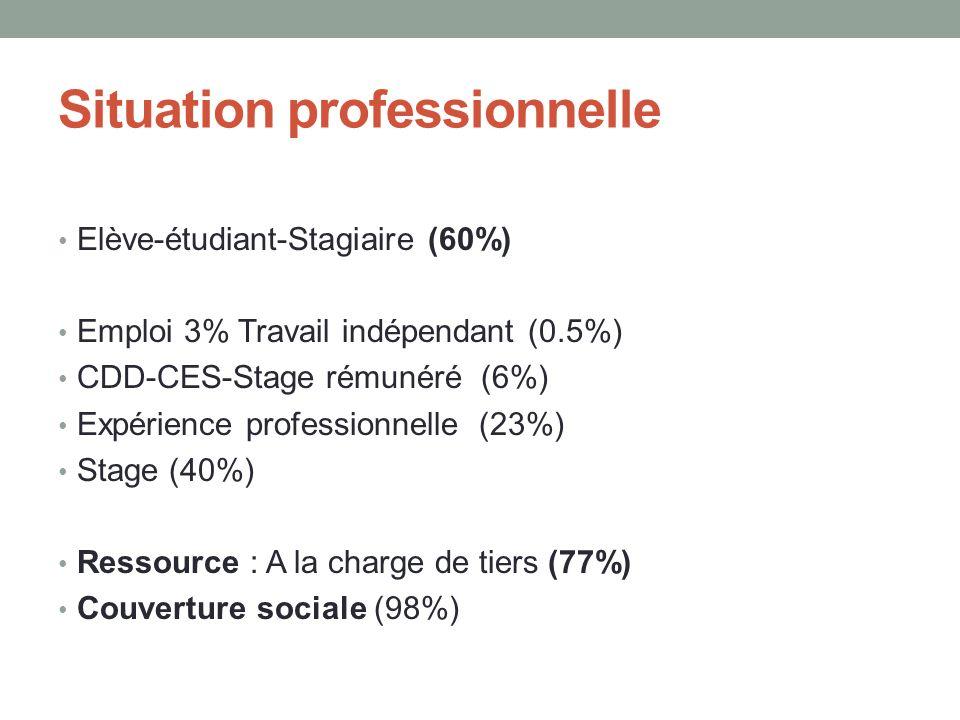 Situation professionnelle Elève-étudiant-Stagiaire (60%) Emploi 3% Travail indépendant (0.5%) CDD-CES-Stage rémunéré (6%) Expérience professionnelle (23%) Stage (40%) Ressource : A la charge de tiers (77%) Couverture sociale (98%)