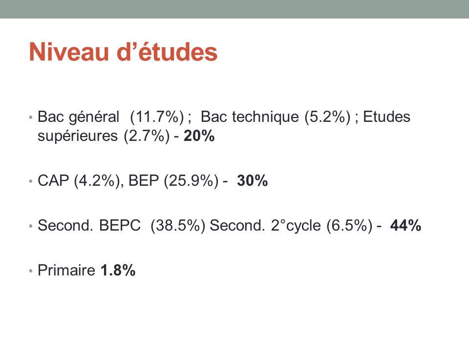 Niveau détudes Bac général (11.7%) ; Bac technique (5.2%) ; Etudes supérieures (2.7%) - 20% CAP (4.2%), BEP (25.9%) - 30% Second.