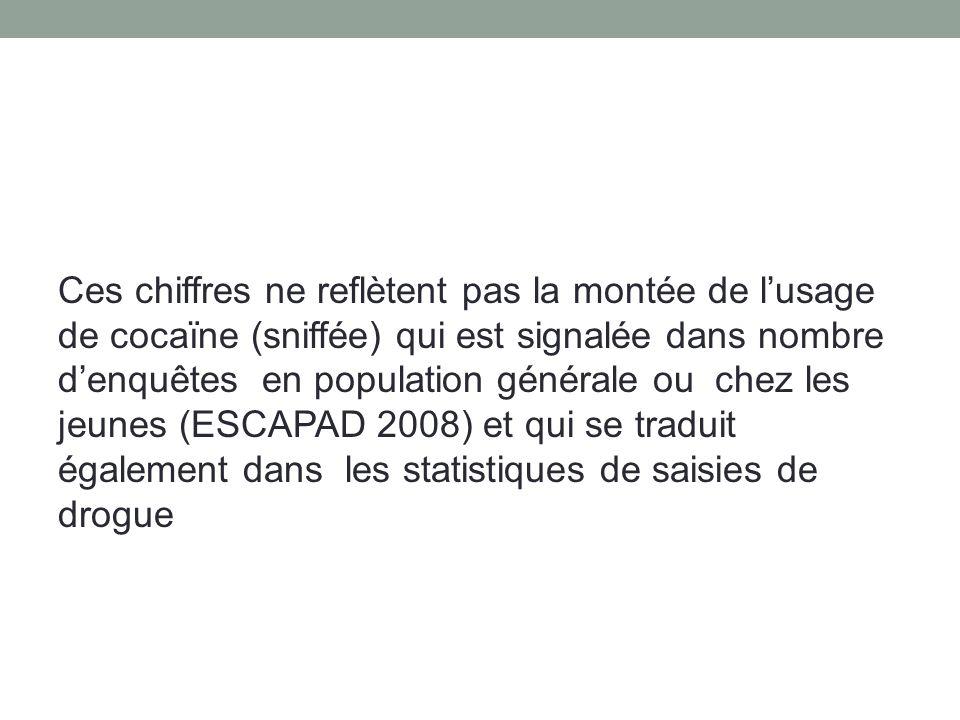 Ces chiffres ne reflètent pas la montée de lusage de cocaïne (sniffée) qui est signalée dans nombre denquêtes en population générale ou chez les jeunes (ESCAPAD 2008) et qui se traduit également dans les statistiques de saisies de drogue