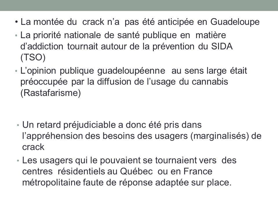 La montée du crack na pas été anticipée en Guadeloupe La priorité nationale de santé publique en matière daddiction tournait autour de la prévention du SIDA (TSO) Lopinion publique guadeloupéenne au sens large était préoccupée par la diffusion de lusage du cannabis (Rastafarisme)