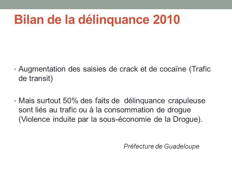 Bilan de la délinquance 2010 Augmentation des saisies de crack et de cocaïne (Trafic de transit) Mais surtout 50% des faits de délinquance crapuleuse sont liés au trafic ou à la consommation de drogue (Violence induite par la sous-économie de la Drogue).