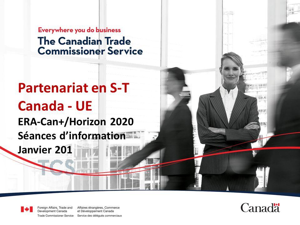 Accord de coopération scientifique et technologique (S-T) Canada-UE LAccord a été reconduit en 1996 Rencontres annuelles dans le cadre du Comité mixte de coopération scientifique et technologique (CMCST) La dernière réunion a eu lieu en mars 2013, à Bruxelles, et la prochaine se tiendra en novembre, au Canada.