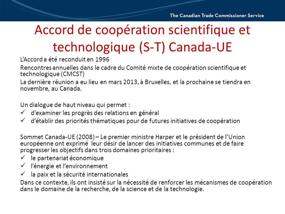 Accord de coopération scientifique et technologique (S-T) Canada-UE LAccord a été reconduit en 1996 Rencontres annuelles dans le cadre du Comité mixte