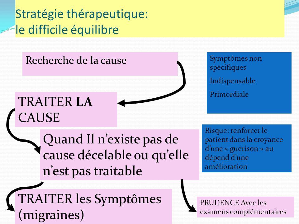 Stratégie thérapeutique: le difficile équilibre Recherche de la cause TRAITER LA CAUSE Quand Il nexiste pas de cause décelable ou quelle nest pas traitable Symptômes non spécifiques Indispensable Primordiale TRAITER les Symptômes (migraines) Risque: renforcer le patient dans la croyance dune « guérison » au dépend dune amélioration PRUDENCE Avec les examens complémentaires