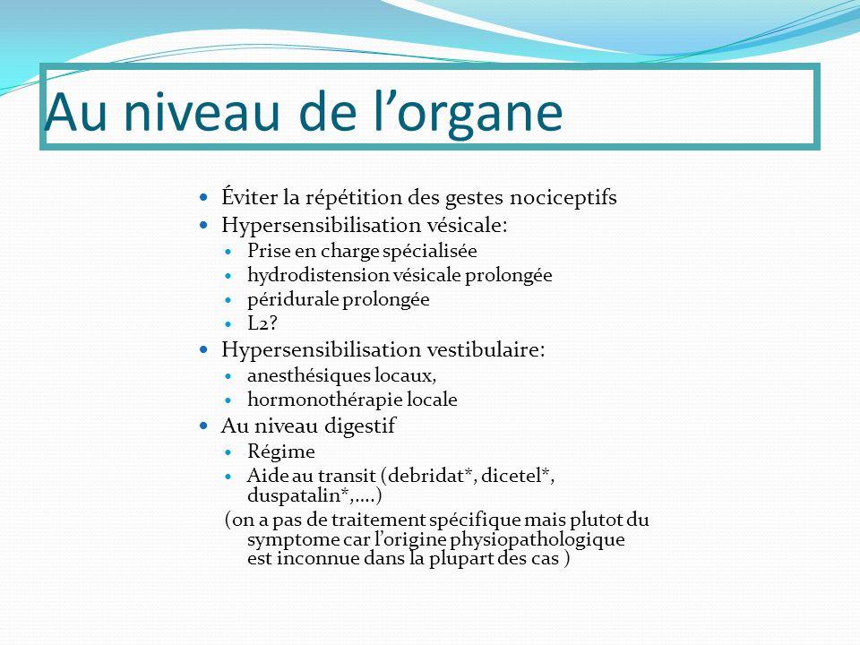 Au niveau de lorgane Éviter la répétition des gestes nociceptifs Hypersensibilisation vésicale: Prise en charge spécialisée hydrodistension vésicale prolongée péridurale prolongée L2.