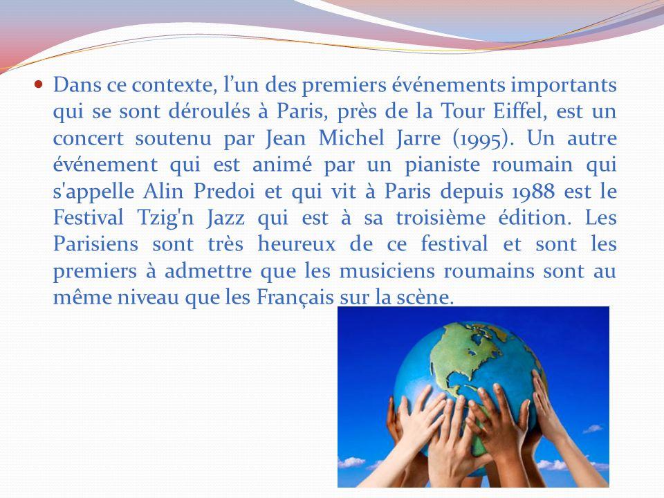 Dans ce contexte, lun des premiers événements importants qui se sont déroulés à Paris, près de la Tour Eiffel, est un concert soutenu par Jean Michel