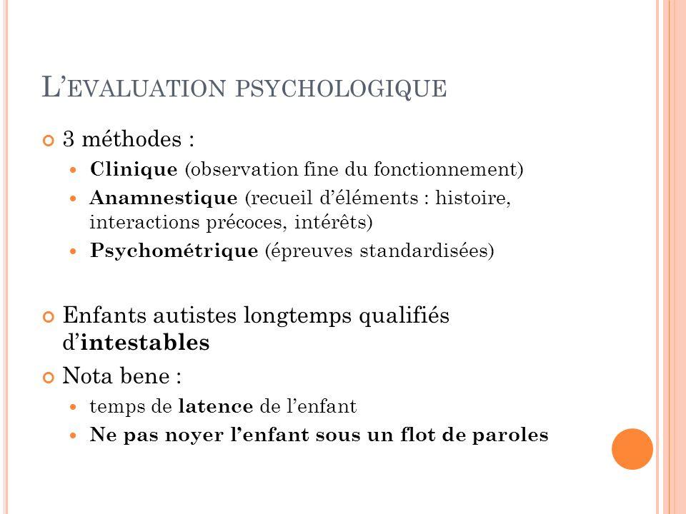 L EVALUATION PSYCHOLOGIQUE 3 méthodes : Clinique (observation fine du fonctionnement) Anamnestique (recueil déléments : histoire, interactions précoce