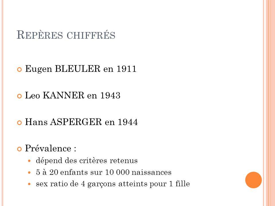 R EPÈRES CHIFFRÉS Eugen BLEULER en 1911 Leo KANNER en 1943 Hans ASPERGER en 1944 Prévalence : dépend des critères retenus 5 à 20 enfants sur 10 000 na