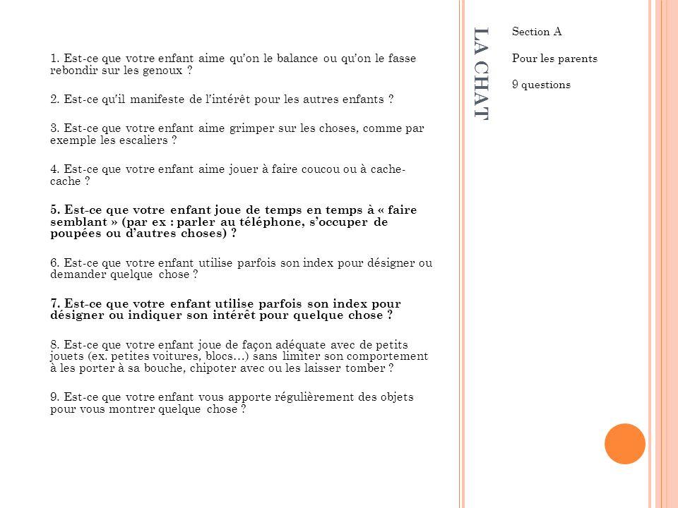 LA CHAT Section B Pour les professionnels 5 questions I.