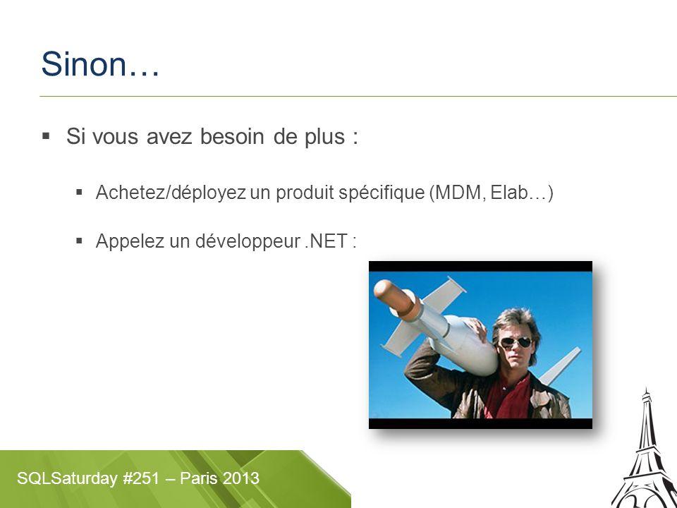 SQLSaturday #251 – Paris 2013 Démos Possibilités Insert : Oui Update / Delete : Oui Administration : Manip plutôt moche mais faisable ou indirecte Déploiement Appli desktop 2-tier (client lourd SilverLight + dB)desktop 2-tier Appli desktop ou web 3-tier (client léger SL ou HTML5 + IIS/Azure + dB)3-tier SharePoint 2013 / Office365 SharePoint 2013